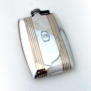 Art Deco Flask International Sterling Silver 14K Gold Inlay Mono TFM