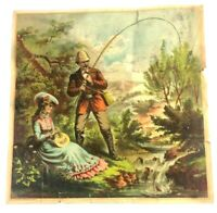 The Calvert Lith Co Detroit Print 132 Fishing Date Couple Victorian 1800s Art