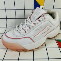 Fila Disruptor II 2 White With Ice Pink Soles Trainers Shoes Size UK 5 EU 39