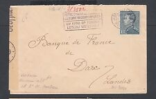 BELGIUM 1940s WWII CENSORED COVER BRUSSELS LOTTERY CANCEL TO LANDES FRANCE