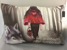 NEW LARGE CUSHION PILLOW RED RIDING HOOD FAIRY TALE GOTHIC GIRL AND WOLF