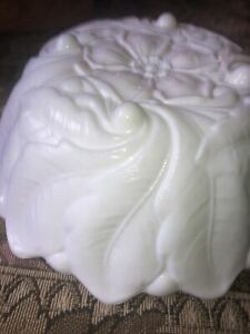 Vintage White Milk Glass Motif Footed Serving Bowl