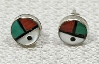 VTG Sterling Silver ZUNI Sunface Turquoise Coral Stud Earrings Native American