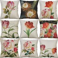 "18'"" Tulip Flower Cotton Linen Sofa Waist Cushion Cover Pillow Case Home Decor"