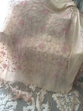 Beautiful Antique Silk Embroidered Piano Shawl. Hand Knotted Fringe