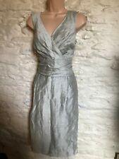 silver linen rich shift dress size 18