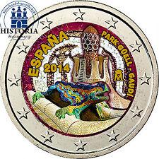 Spanien 2 Euro Gedenkmünze 2014 bfr. Park Güell Gaudi in Farbe