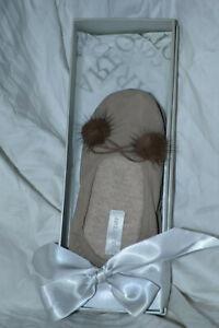 Arlotta Cashmere Slippers Drawstring Pom Pom Ballet Neutral Slippers Size S NIB