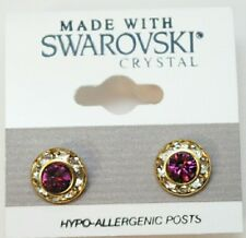 9mm Crystal Circle Made with Swarovski Purple Silver Round Roundel Gold Earrings