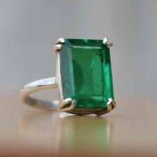 925 Sterling Silver Natural Colombian Emerald Octagun Shape Ring Gift Sale!!