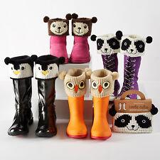 New NIP kids womens boot knit animal face cuff SO CUTE  teddy bear