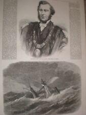 Lord Mayor John Barrington of Dublin & wreck RMS Armenian  1865 old prints ref T