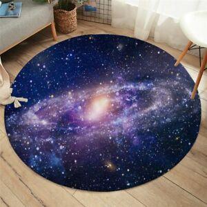 3D Universe Galaxy Stars Purple Planet Round Rug Carpet Mat Living Room Bedroom
