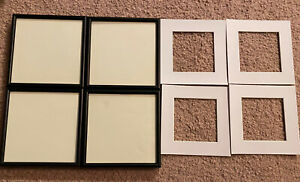 Lot 4 6x6 Picture Frames 4 4x4 White Mats Hanging Photo