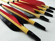 6PCS Handmade Wood Arrows Turkey Feather 11/32 Archery For Longbow Recurve Hunt