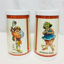 Vintage 1975 Thermo Serv His And Hers Insulated Tennis Mugs. Set Of 2.
