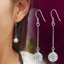 Charming Long Earrings  Silver Hook Crystal Round Ball Drop Dangle Earrings FO