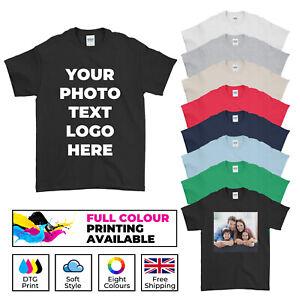 Personalised T-Shirt Photo Custom Your Text Logo Men's Women's Kids T Shirt Tee