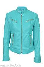 Joan Turquoise Cool Retro Biker Style Fitted Motorcycle Leather Jacket
