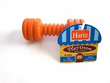 "Hartz ""Barbell"" Orange Rubber Chew Toy For Small  Dogs Heavy Duty Fun for Pups"