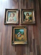 3 antike Bilder mit Mädchenmotiv, Ölfarbe mit Signatur,  33 cm x 38 cm
