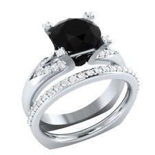 Certified 2.90Ct Black Round Diamond Engagement Wedding Ring Set 14K White Gold