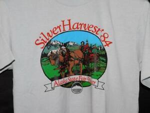 Vintage 1984 Alaska State Fair Gray T Shirt M Silver Harvest Palmer AK Horse