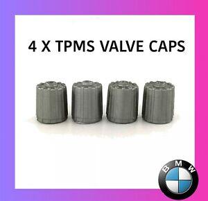BMW 4 x SILVER GREY GENUINE PLASTIC TPMS TYRE PRESSURE SENSOR VALVE DUST CAPS