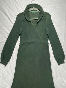 1920's 1930's KNIT SWEATER DRESS Dark Green Art Deco Knitted Outerwear Authority