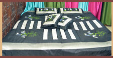 Black patch Silk Embroidered Bed Cover Sheet pillow set full Queen from India