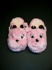 "Gymboree Giraffe Club Slippers sz 13-1 Pink Fuzzy 8"" long"