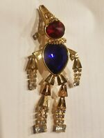 "Clown Jester Dancing Moveable 4"" Brooch Gold Tone Ruby Sapphire Diamond Inspired"