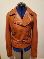 Women's Daytrip Faux Leather Jacket Ruffled Belted Asymmetric Size Large