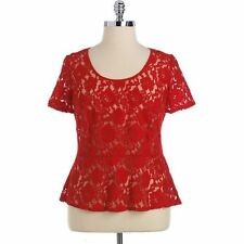 NEW! Dkny Womens Size XL RED Floral Lace Peplum Top Blouse Shirt NWT! Ret $79.00