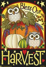 """New listing Bless Our Harvest 28""""x40"""" House Flag By Jeremiah Junction Owl Fall"""