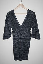New Look Womans 3/4 Sleeve Knitted Dress Tunic Grey Soft Material Size M