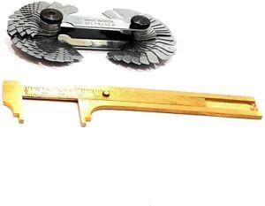 """Combo of Thread Pitch Gauge & 4"""" (100 mm) Brass Vernier Gauge measuring tools"""