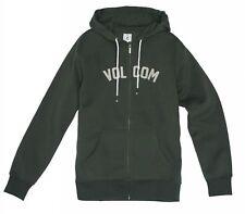 Taglia L - Felpa Uomo Zip e Cappuccio Volcom West Side Fleece Green Verde Hoodie