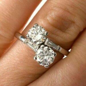 3.88 Ct Runde Diamant Bypass Toi et Moi Verlobung & Hochzeit Ring 14k Weißgold