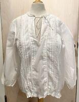 SANCTUARY Anthropologie Women Boho White Blouse Sz L Shirt Top 3/4 Sleeves