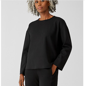 NEW Eileen Fisher Flex Ponte Box Top in Black - Size L #S3270