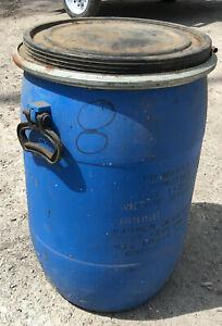 Blue Plastic 50 KG Barrel 14 x 23 drum vintage 1991 storage 15 gallon