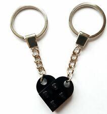 Lego Noir Love Coeur Keychain Porte-clés Cadeau St-Valentin Anniversaire Présent nouveau