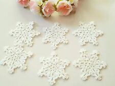 Lot of 10 Hand Crocheted Snowflakes Doilies Ornaments size 8.5 cm - White