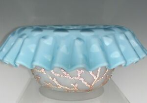 Antique Webb Coralene Decorated Blue Mother of Pearl Raindrop Bowl Waterfall Rim