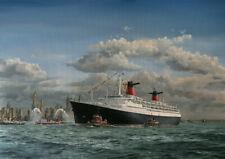 "SS France French Line Ocean Liner Robert Lloyd Painting Art Print - 17"" Image"