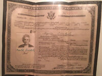 1953 UNITED STATES OF AMERICA CERTIFICATE OF NATURALIZATION w/ SEAL & PICTURE