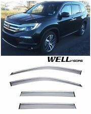 For 16-UP Honda Pilot WellVisors Side Window Visors W/ Chrome Trim