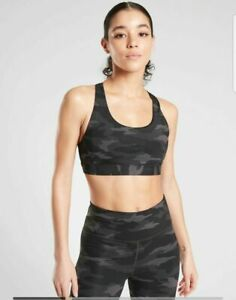 ATHLETA Ultimate Printed Bra In SuperSonic A-C L LARGE Black Camo Workout Yoga