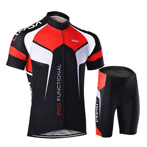 Men Breathable Quick Dry Comfortable Short Sleeve Jersey + Padded Shorts S1V0